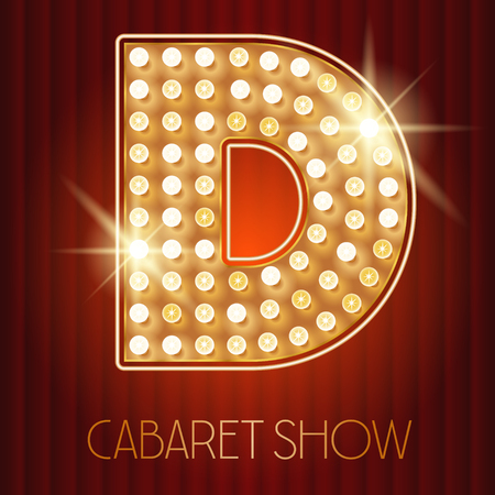 cabaret: Vector shiny gold lamp alphabet in cabaret show style. Letter D