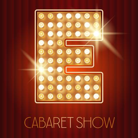 Vector shiny gold lamp alphabet in cabaret show style. Letter E