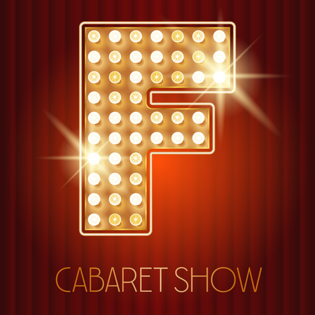 showtime: Vector shiny gold lamp alphabet in cabaret show style. Letter F