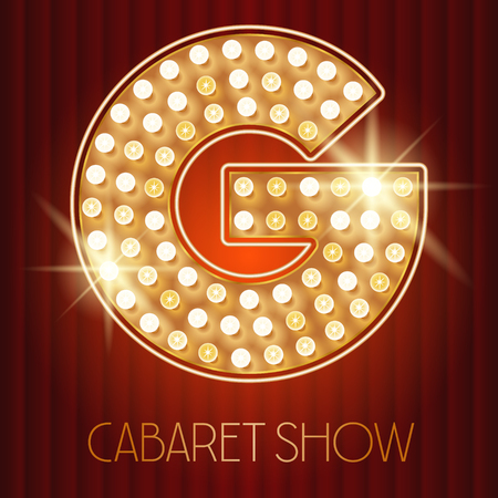 Vector shiny gold lamp alphabet in cabaret show style. Letter G