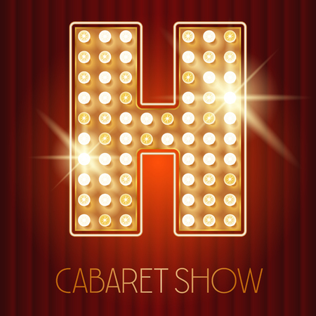 shiny gold: Vector shiny gold lamp alphabet in cabaret show style. Letter H