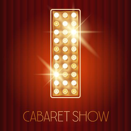 Vector shiny gold lamp alphabet in cabaret show style. Letter I Illustration