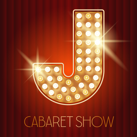 shiny gold: Vector shiny gold lamp alphabet in cabaret show style. Letter J
