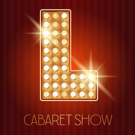Vector glänzende Gold Lampe Alphabet in Kabarett-Show-Stil. Buchstabe L Standard-Bild - 49964730
