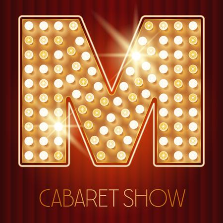 shiny gold: Vector shiny gold lamp alphabet in cabaret show style. Letter M Illustration