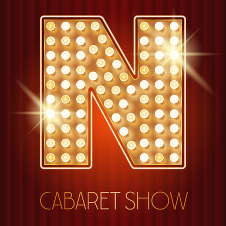 Vector shiny gold lamp alphabet in cabaret show style. Letter N