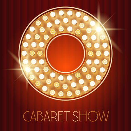 Vector shiny gold lamp alphabet in cabaret show style. Letter O