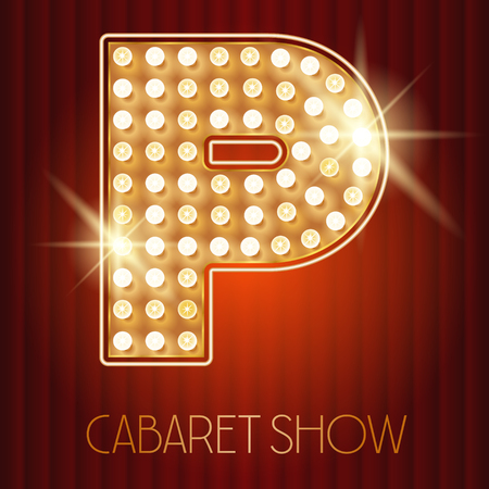 gold alphabet: Vector shiny gold lamp alphabet in cabaret show style. Letter P Illustration