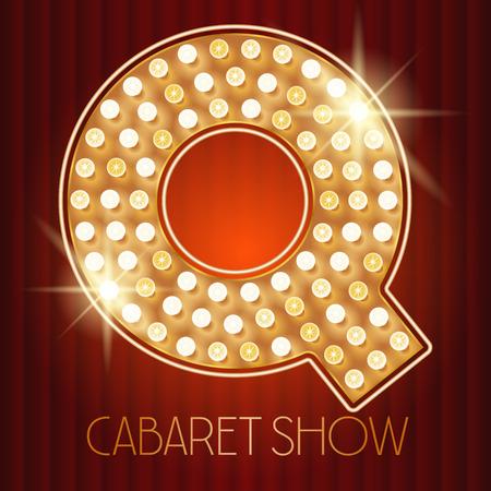 shiny gold: Vector shiny gold lamp alphabet in cabaret show style. Letter Q Illustration