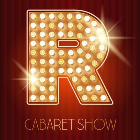 Vector shiny gold lamp alphabet in cabaret show style. Letter R Stock Illustratie