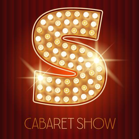 Vector shiny gold lamp alphabet in cabaret show style. Letter S Illustration