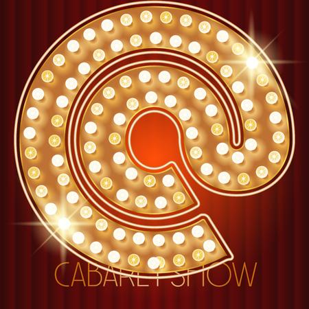 Vector shiny gold lamp alphabet in cabaret show style. Symbol Illustration