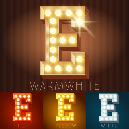alphabet letters: Vector electric light up lamp alphabet in hard font. Letter E