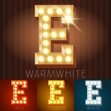 lettres alphabet: Vector électrique allume la lampe alphabet en caractères dur. Lettre E