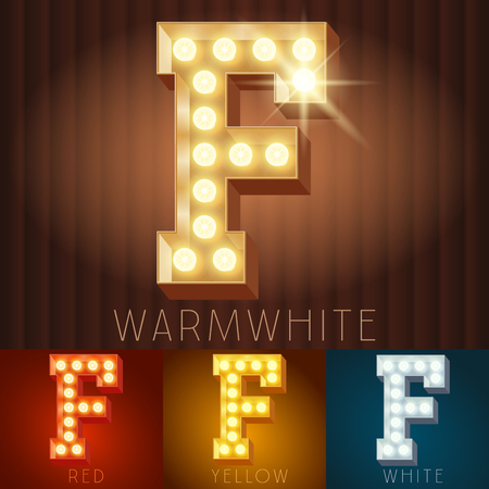letter f: Vector electric light up lamp alphabet in hard font. Letter F