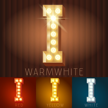 Vector electric light up lamp alphabet in hard font. Letter I