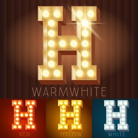 neon letter: Vector electric light up lamp alphabet in hard font. Letter H Illustration
