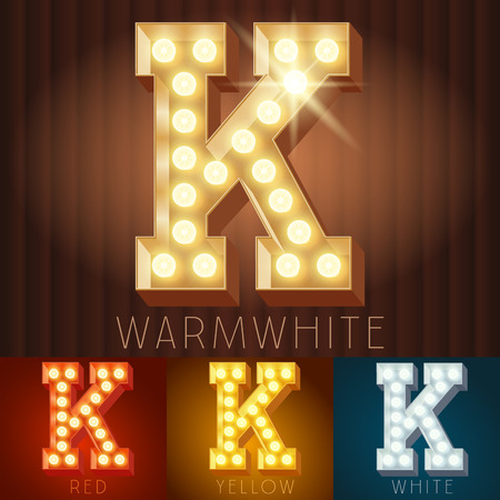 letter k: Vector electric light up lamp alphabet in hard font. Letter K