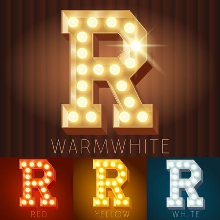 retro lamp: Vector electric light up lamp alphabet in hard font. Letter R Illustration