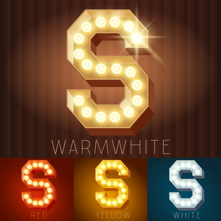 Vector electric light up lamp alphabet in hard font. Letter S