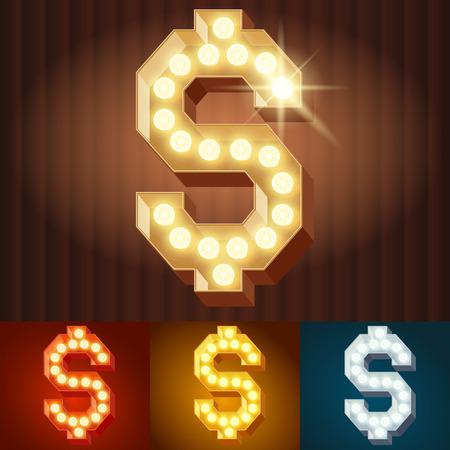 Vector elektrische leuchten Lampe Alphabet in harten Schriftart. Symbol 5 Standard-Bild - 50208055