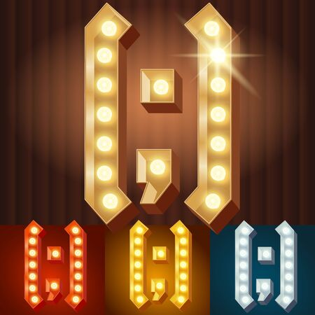 burlesque: Vector electric light up lamp alphabet in hard font. Symbol 4