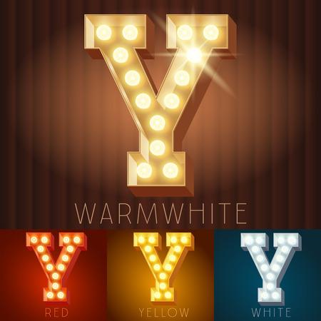 neon letter: Vector electric light up lamp alphabet in hard font. Letter Y