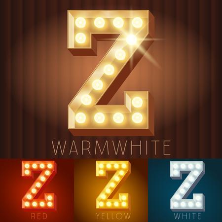 Vector elektrische leuchten Lampe Alphabet in harten Schriftart. Letter Z Standard-Bild - 50208063