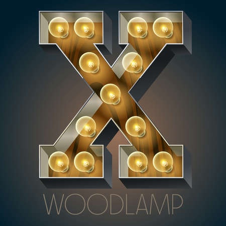 luxe: Vector wooden electric light up lamp alphabet in hard font. Letter X