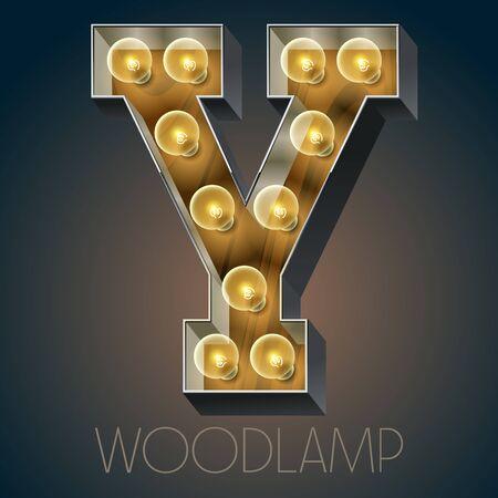 Vector Holz elektrische leuchten Lampe Alphabet in harten Schriftart. Buchstabe Y Standard-Bild - 51134071