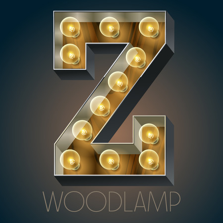 oak wood: Vector wooden electric light up lamp alphabet in hard font. Letter Z Illustration