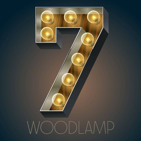 luxe: Vector wooden electric light up lamp alphabet in hard font. Number 7