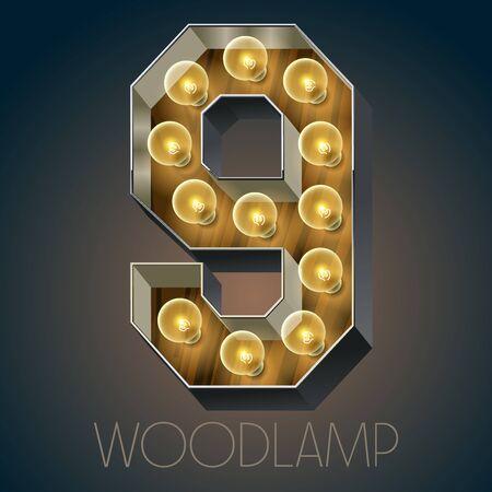 Vector Holz elektrische leuchten Lampe Alphabet in harten Schriftart. Nummer 9 Standard-Bild - 51134085