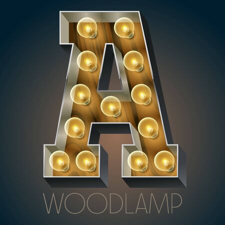 luxe: Vector wooden electric light up lamp alphabet in hard font. Letter A