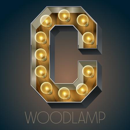 Vector Holz elektrische leuchten Lampe Alphabet in harten Schriftart. Letter C Standard-Bild - 51134087