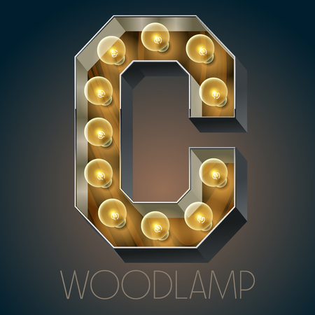 Vector wooden electric light up lamp alphabet in hard font. Letter C Ilustração