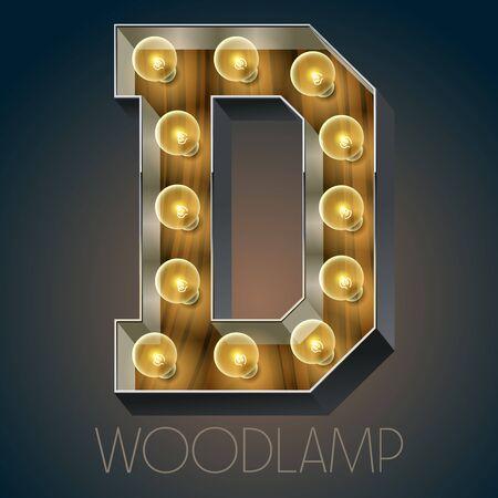 Vector Holz elektrische leuchten Lampe Alphabet in harten Schriftart. Buchstabe D Standard-Bild - 51134088