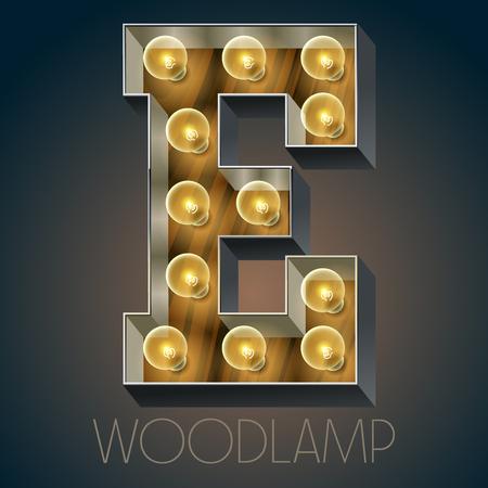 Vector Holz elektrische leuchten Lampe Alphabet in harten Schriftart. Buchstabe E Standard-Bild - 51134089