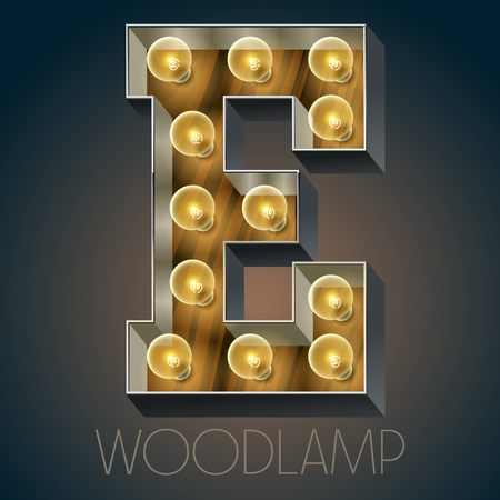 luxe: Vector wooden electric light up lamp alphabet in hard font. Letter E