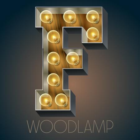 Vector Holz elektrische leuchten Lampe Alphabet in harten Schriftart. Buchstabe F Standard-Bild - 51134455