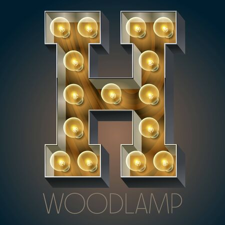 luxe: Vector wooden electric light up lamp alphabet in hard font. Letter H