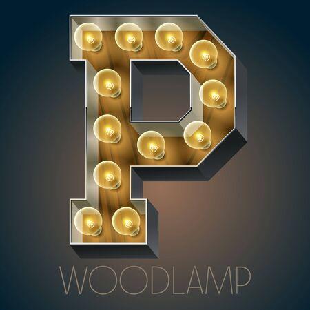 Vector Holz elektrische leuchten Lampe Alphabet in harten Schriftart. Buchstabe P Standard-Bild - 51134465