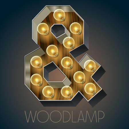 Vector wooden electric light up lamp alphabet in hard font. Symbol