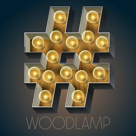 Vector wooden electric light up lamp alphabet in hard font. Symbol