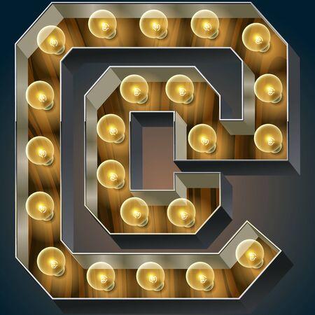Vector Holz elektrische leuchten Lampe Alphabet in harten Schriftart. Symbol Standard-Bild - 51134473