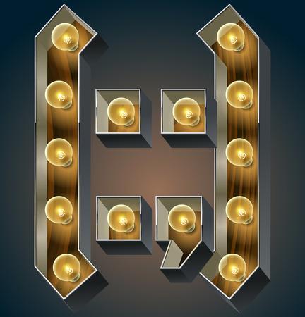 nightlife: Vector wooden electric light up lamp alphabet in hard font. Symbol
