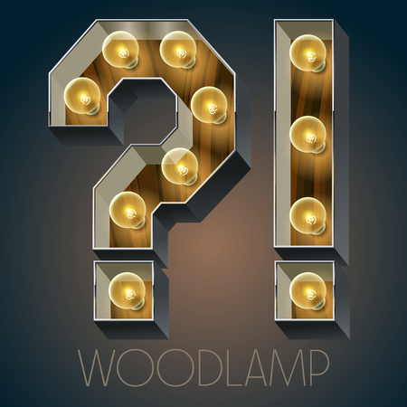 oak wood: Vector wooden electric light up lamp alphabet in hard font. Symbol