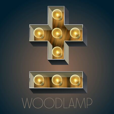 lightbulbs: Vector wooden electric light up lamp alphabet in hard font. Symbol
