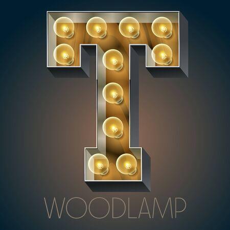 Vector Holz elektrische leuchten Lampe Alphabet in harten Schriftart. Buchstabe T Standard-Bild - 51134778