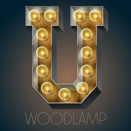luxe: Vector wooden electric light up lamp alphabet in hard font. Letter U